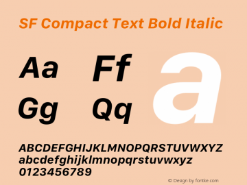 SF Compact Text Bold Italic Version 1.00 May 6, 2016, initial release图片样张