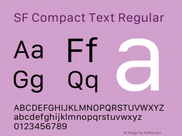 SF Compact Text Regular Version 1.00 May 6, 2016, initial release Font Sample