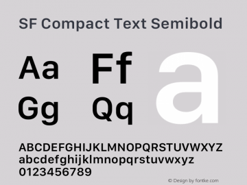 SF Compact Text Semibold Version 1.00 May 6, 2016, initial release Font Sample