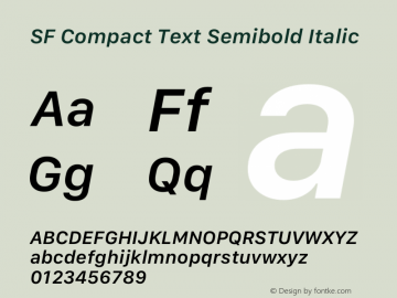 SF Compact Text Semibold Italic Version 1.00 May 6, 2016, initial release Font Sample