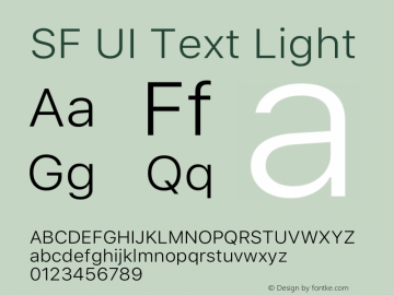 SF UI Text Light Version 1.00 May 6, 2016, initial release Font Sample