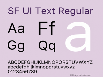 SF UI Text Regular Version 1.00 May 6, 2016, initial release Font Sample