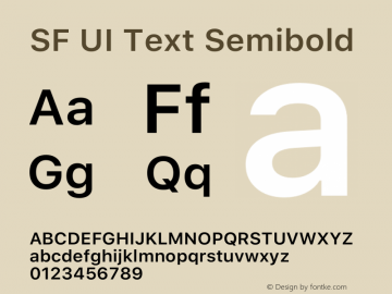 SF UI Text Semibold Version 1.00 May 6, 2016, initial release Font Sample