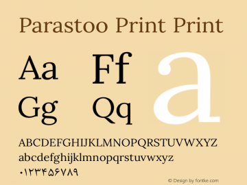 Parastoo Print Print Version 1.0.0-alpha3 Font Sample