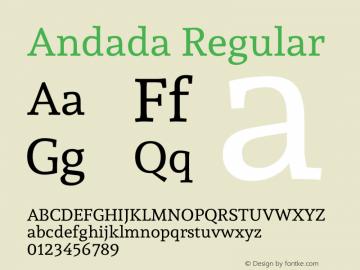 Andada Regular Version 1.001 Font Sample
