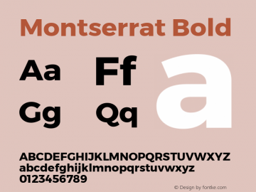 Montserrat Bold Version 6.001 Font Sample