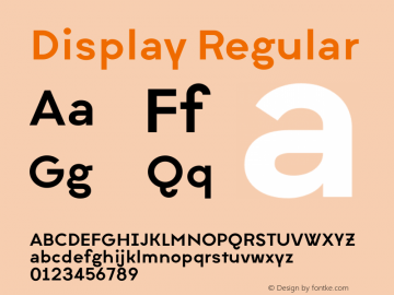 Display Regular Version 1.000 Font Sample