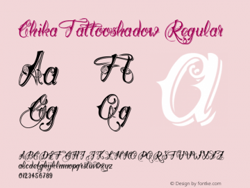 ChikaTattooshadow Regular Version 1.000;com.myfonts.easy.otto-maurer.chika-tattoo.thin-shadow.wfkit2.version.4pHU Font Sample