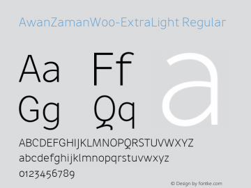 AwanZamanW00-ExtraLight Regular Version 1.17 Font Sample