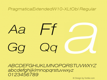 PragmaticaExtendedW10-XLtObl Regular Version 2.00 Font Sample