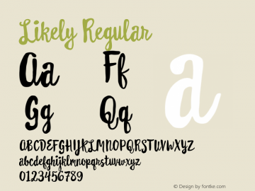 Likely Regular Version 1.000;PS 001.000;hotconv 1.0.88;makeotf.lib2.5.64775 Font Sample