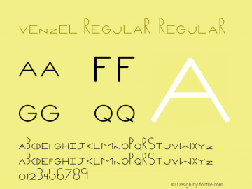 Venzel-regular Regular Version 1.000;PS 001.000;hotconv 1.0.88;makeotf.lib2.5.64775 Font Sample