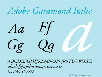 Adobe Garamond Italic 001.001 Font Sample