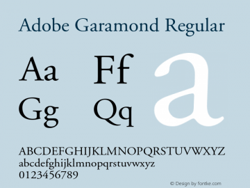 Adobe Garamond Regular 001.001 Font Sample