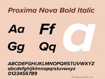 Proxima Nova Bold Italic Version 3.008;PS 003.008;hotconv 1.0.88;makeotf.lib2.5.64775 Font Sample