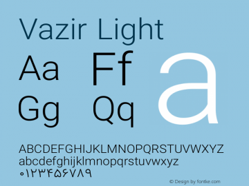 Vazir Light Version 8.0.0 Font Sample
