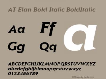 AT Elan Bold Italic BoldItalic 1.0 Font Sample