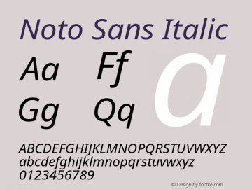 Noto Sans Italic Version 1.902 Font Sample