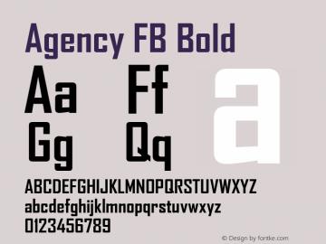 Agency FB Bold Version 1.01 Font Sample