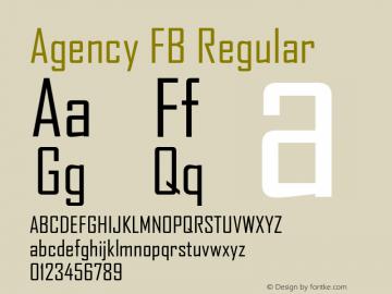 Agency FB Regular Version 1.01 Font Sample