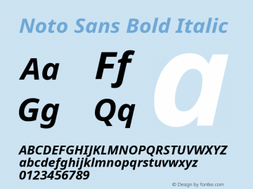 Noto Sans Bold Italic Version 1.902 Font Sample
