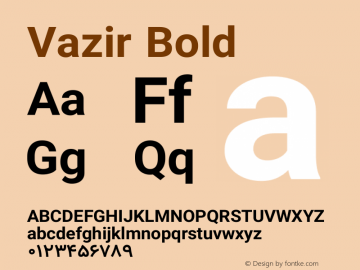 Vazir Bold Version 8.1.0 Font Sample