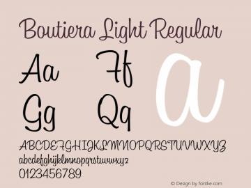 Boutiera Light Regular Version 1.000;PS 001.000;hotconv 1.0.88;makeotf.lib2.5.64775 Font Sample