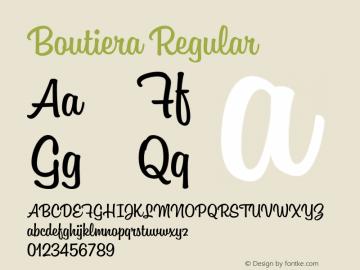 Boutiera Regular Version 1.000;PS 001.000;hotconv 1.0.88;makeotf.lib2.5.64775 Font Sample