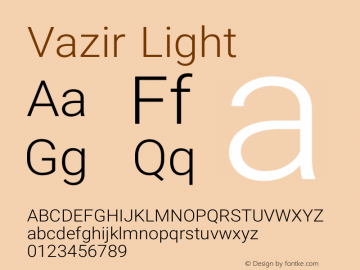 Vazir Light Version 8.2.0 Font Sample