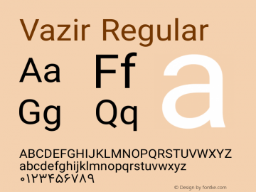 Vazir Regular Version 8.2.0 Font Sample