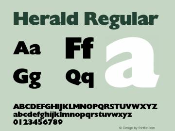 Herald Regular Altsys Fontographer 3.5  9/25/92 Font Sample