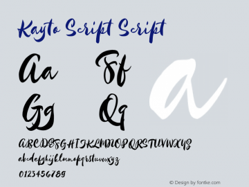 Kayto Script Script Version 1.1 Majestype Font Sample