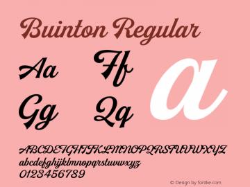 Buinton Regular Version 1.000;PS 001.000;hotconv 1.0.88;makeotf.lib2.5.64775 Font Sample