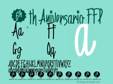 6th Aniversario FFP Version 1.230 Font Sample