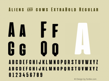 Aliens & cows ExtraBold Regular Version 2.011 Font Sample