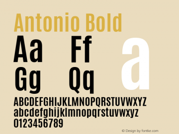 Antonio Bold Version 1 ; ttfautohint (v1.4.1) Font Sample