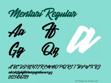 Mentari Regular Version 1.00 October 4, 2016, initial release Font Sample