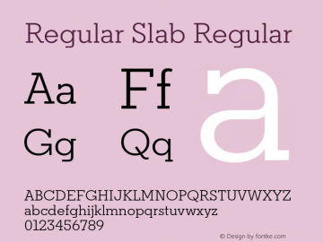 Regular Slab Regular Version 1.0; ttfautohint (v1.4) Font Sample