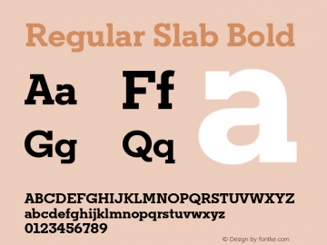 Regular Slab Bold Version 1.0; ttfautohint (v1.4) Font Sample