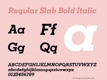 Regular Slab Bold Italic Version 1.0; ttfautohint (v1.4) Font Sample