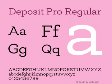 Deposit Pro Regular Version 1.000 Font Sample