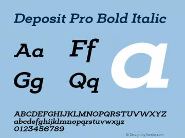 Deposit Pro Bold Italic Version 1.000 Font Sample