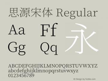 思源宋体 Regular Version 1.000;PS 1;hotconv 16.6.53;makeotf.lib2.5.65590 Font Sample