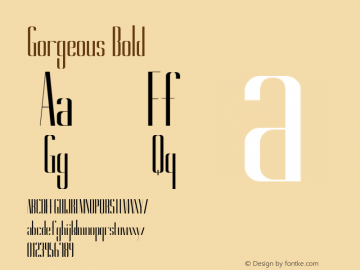 Gorgeous Bold Version 1.000 Font Sample