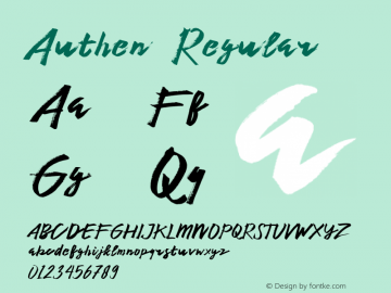 Authen  Regular Unknown Font Sample