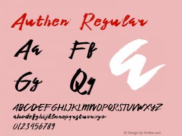 Authen  Regular 1.000 Font Sample