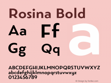 Rosina Bold Version 1.001; ttfautohint (v1.5) Font Sample