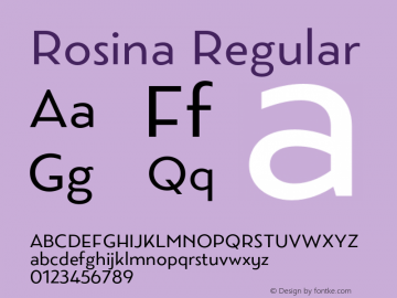 Rosina Regular Version 1.001;PS 001.001;hotconv 1.0.88;makeotf.lib2.5.64775 Font Sample