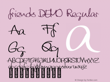friends DEMO Regular Version 1.000 Font Sample