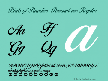 Birds of Paradise  Personal use Regular Version 2.000 Font Sample